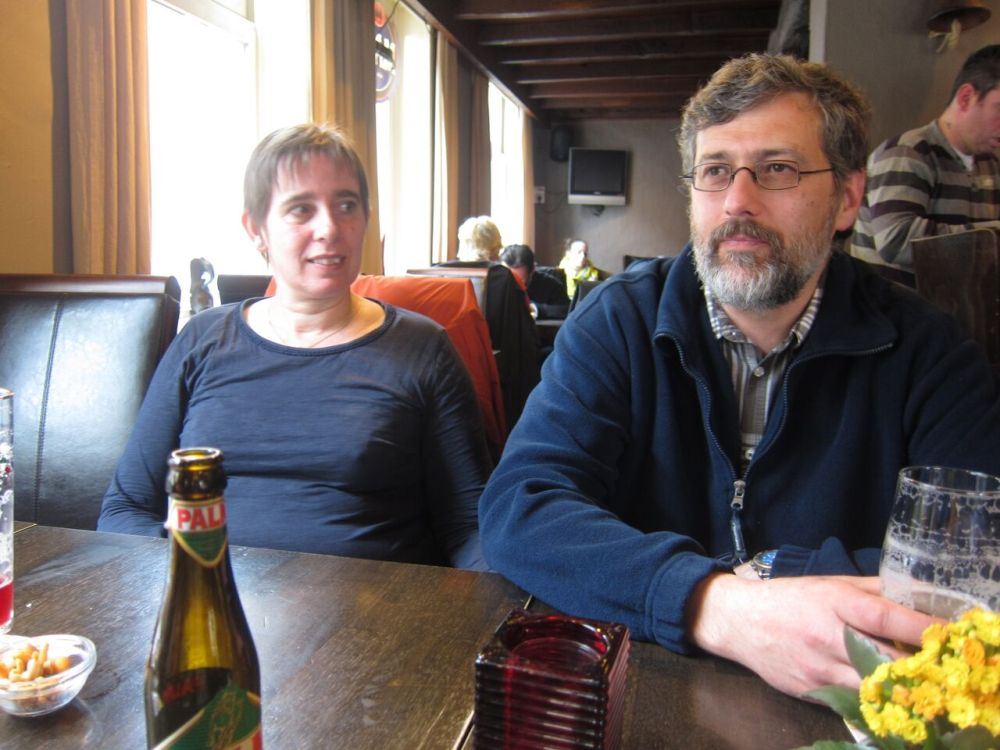 Our hosts, Walter and Veerle, in the pub