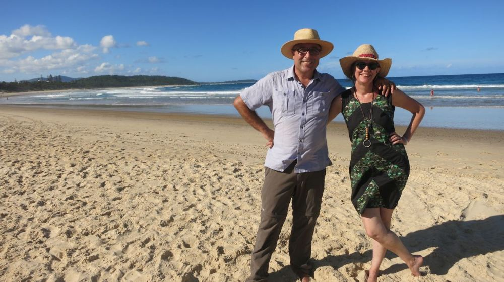 Chris and Susie on Sawtell Beach