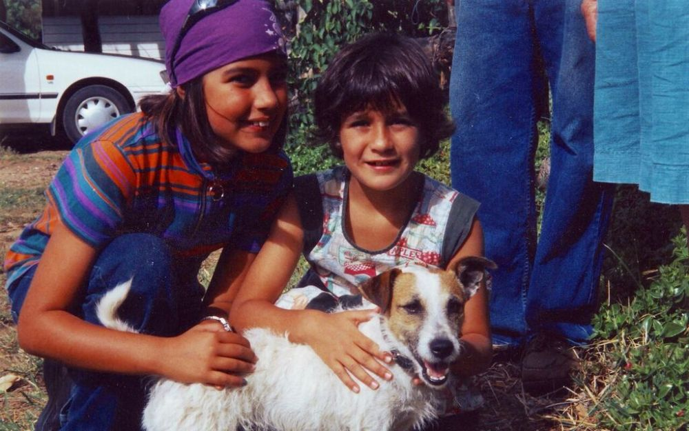 Photo of Clare and Ruby bonding with the chandler's pet dog