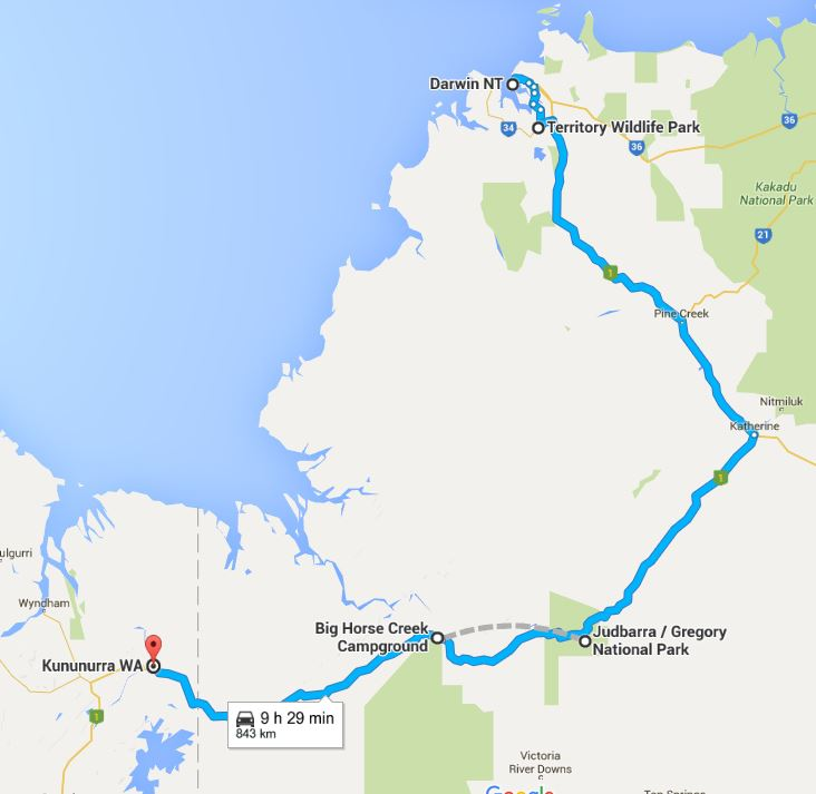 Darwin NT to Kununurra WA (map)
