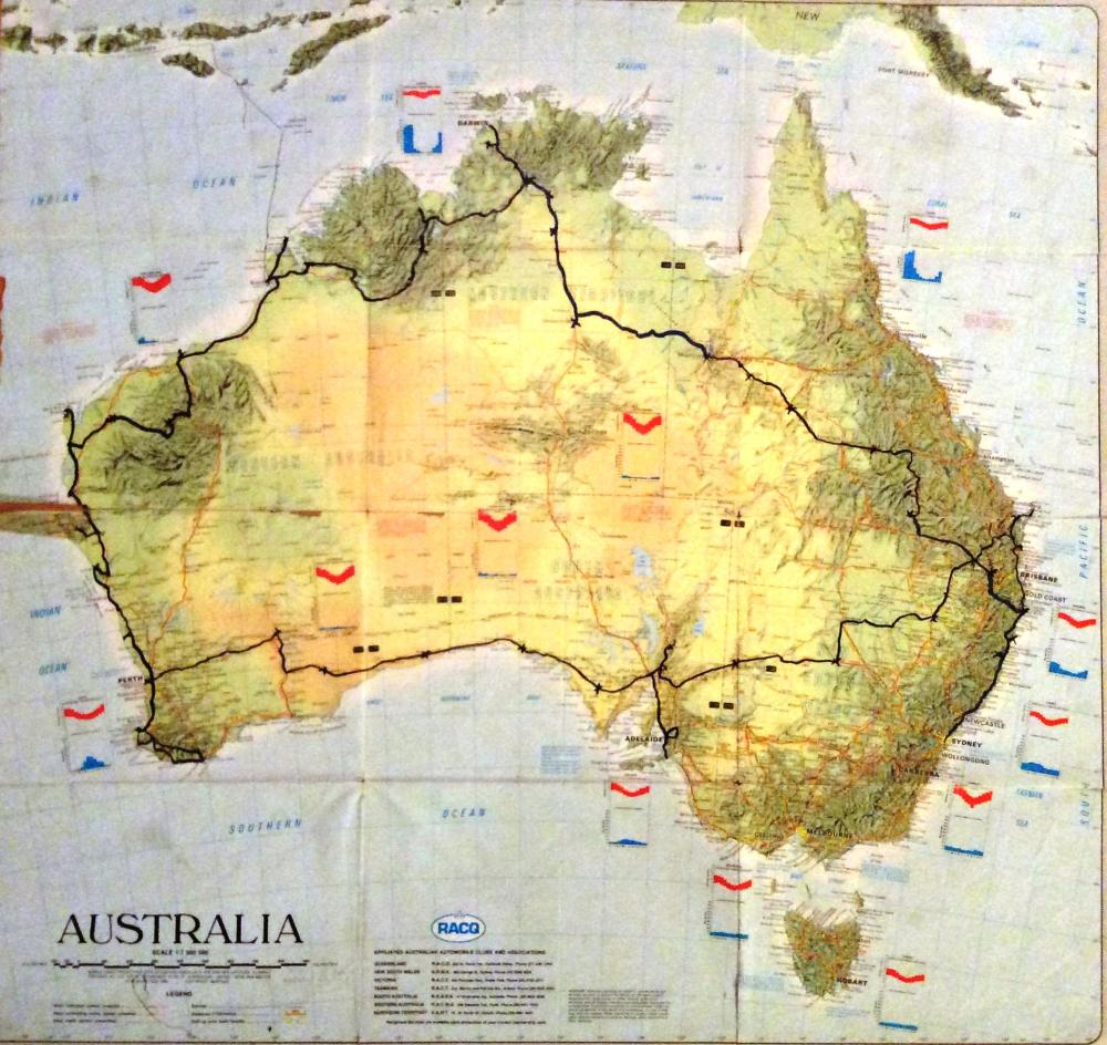 Map of Australia showing our route