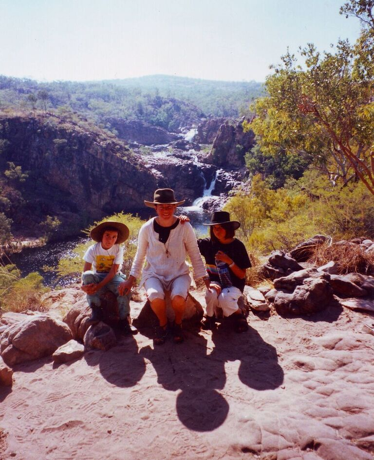 Clare, Susie and Ruby at Leliyn (Edith Falls)