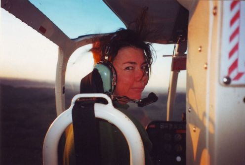 Suzie in the chopper over the Bungles