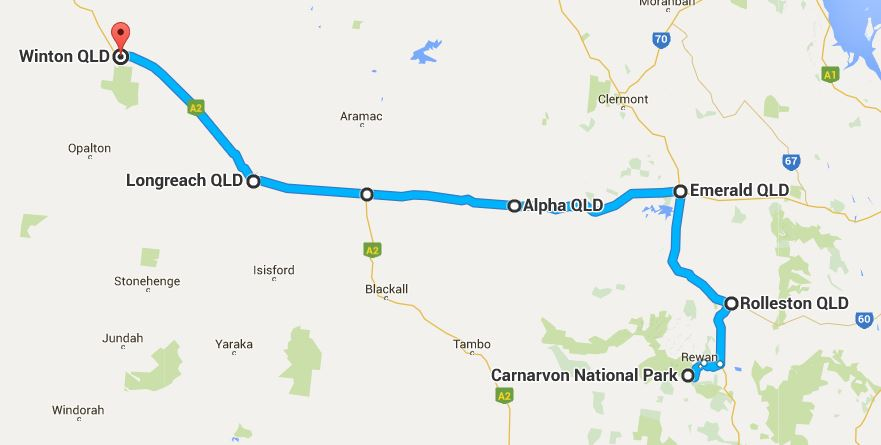 Carnarvon Gorge to Winton (map)