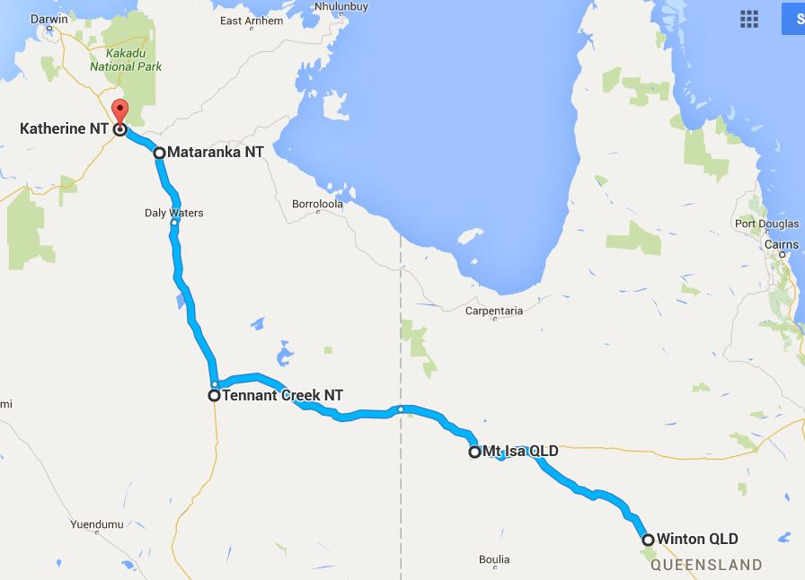 Map of journey from Winton Qld to Katherine NT
