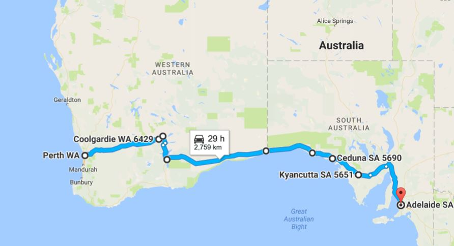 Map of journey from Perth to Adelaide