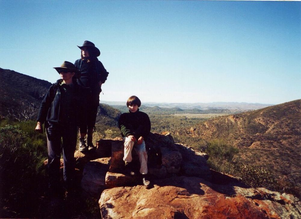 Susie, Ruby and Clare, top of Wilpena Pound, S.A.