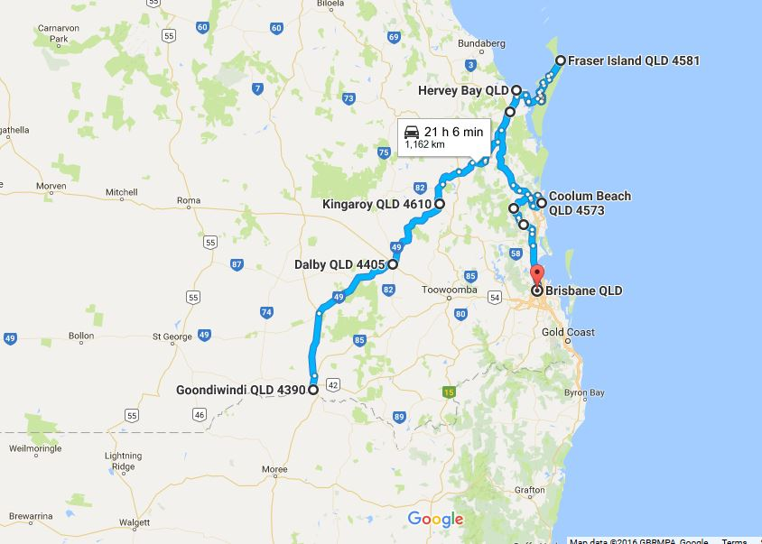Our journey through SE Qld on the return trip